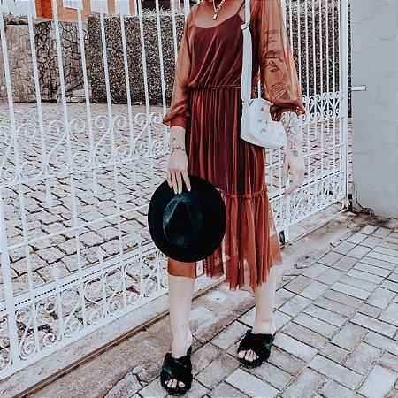 Combo: Bolsa Shoulder Bag Floral + Chinelinho de pelo