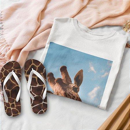 Combo Girafa: T-shirt Branca  + Chinelo de dedo
