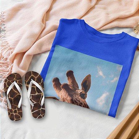 Combo Girafa: T-shirt Azul + Chinelo de dedo