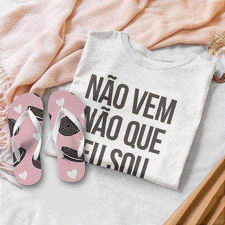 Combo Não vem Não: T-shirt  + Chinelo de dedo