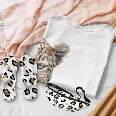 Combo Onça: T-shirt Branca + Chinelo de dedo + Pochete