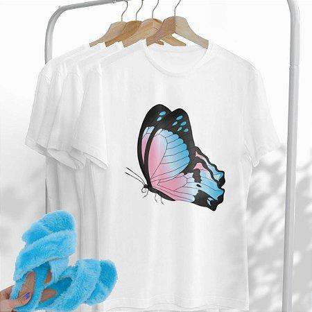 Combo Borboleta: Uma T-shirt + Chinelo peluciado Azul