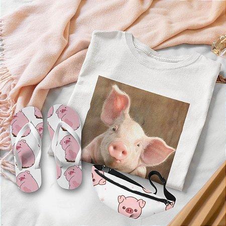 Combo Porco: Camisa Branca + Chinelo de dedo + Pochete