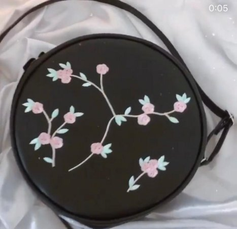 Bag Redonda Preto Fashion Floral