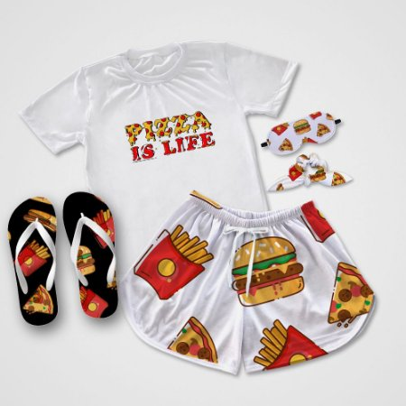 Conjunto Pijama Pizza is Life + Chinelo de dedo