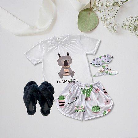 Conjunto Pijama Lhamastê + Chinelinho Peluciado