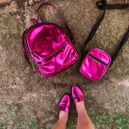 Bolsa Shoulder Bag Metalizada Pink