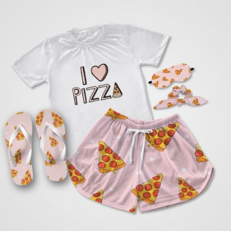 Conjunto Pijama Pizza + Chinelo de dedo