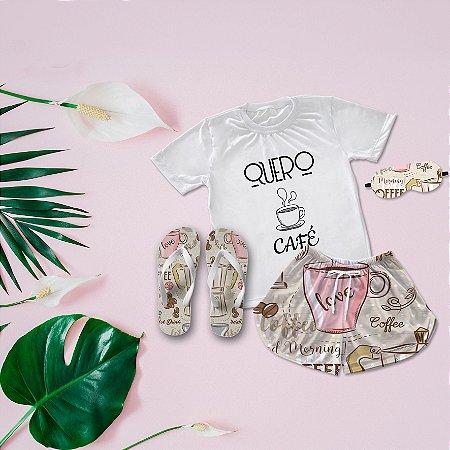 Conjunto Pijama Café + Chinelo de dedo