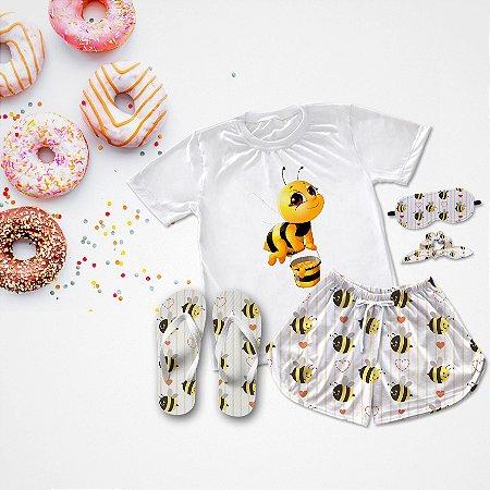 Conjunto Pijama Abelha + Chinelo de dedo