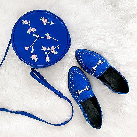 Combo Azul Petróleo: Mocassim + Bag Floral