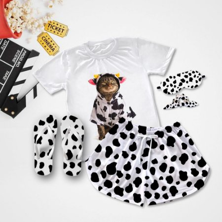 Conjunto Pijama Gato de Vaca + Chinelo de dedo