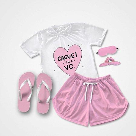 Conjunto Pijama Caguei pra você + Chinelo de dedo