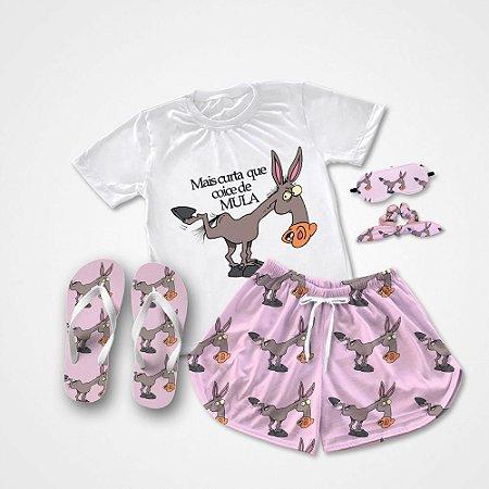 Conjunto Pijama rosa Mais curta que coice de mula + Chinelo de dedo