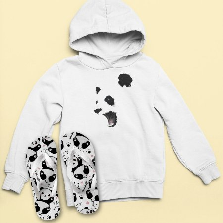 Combo Moletom Capuz + Chinelo: Panda