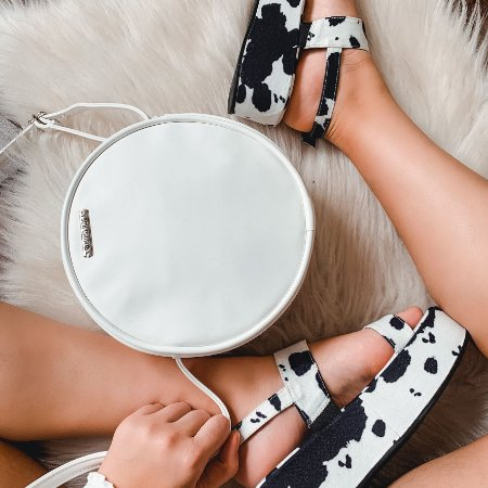 Combo Vaca: Sandália Vaca + Bag Branca Lisa