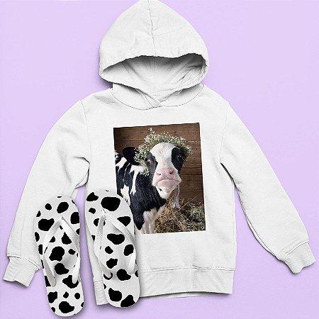 Combo Moletom Capuz + Chinelo: Vaca Princess
