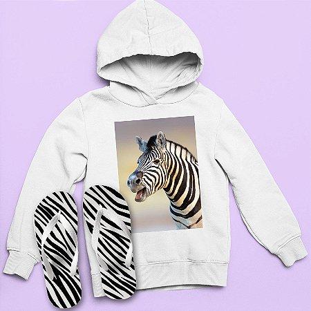 Combo Moletom Capuz + Chinelo: Zebra