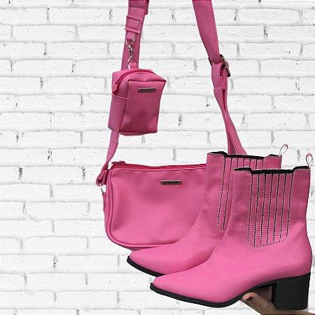 Combo Bolsa Baguete Pink  + Bota Montaria