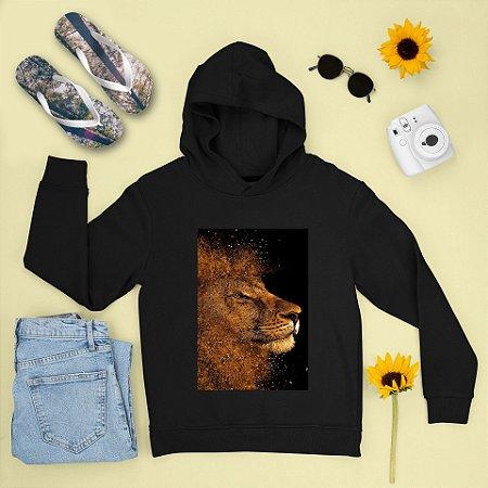 Combo Moletom Preto Capuz + Chinelo: Leão