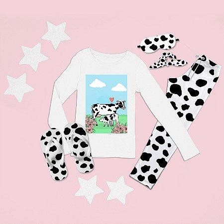 Conjunto Pijama Longo Vaca e Bezerro + Chinelo de dedo