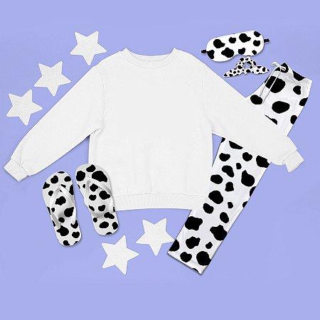 Conjunto Moletom peluciado Branco + Calça Pijama + Chinelo de dedo