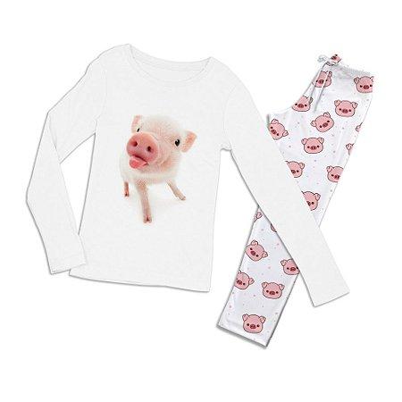 Conjuntinho Pijama Longo Porco Língua