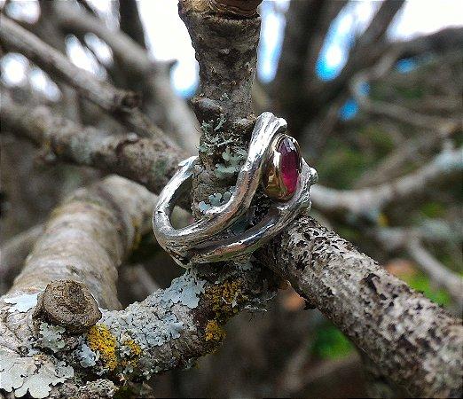 Anel Witches em Prata 950 com Pedra e Ouro 18k | Sob Medida