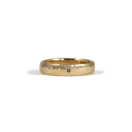 Anel rústico em Ouro Amarelo 18k com diamante | Sob Medida