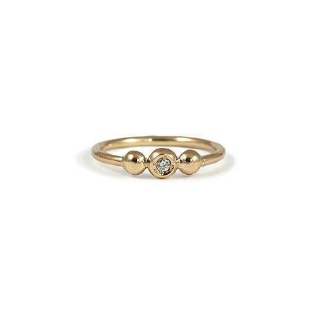Anel três bolinhas em Ouro Amarelo 18k e Diamante | Sob Medida