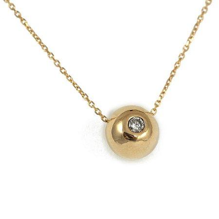 Colar Bolinha em Ouro Amarelo 18k e Diamante