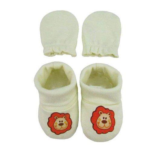 Kit Luva E Sapato Bebê Leão - Creme