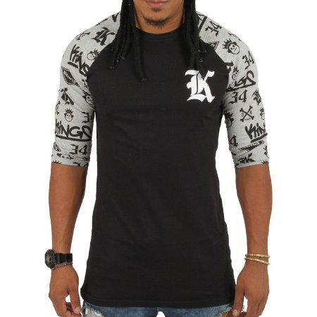 Camiseta Kings Raglan 3/4 Logos Preta