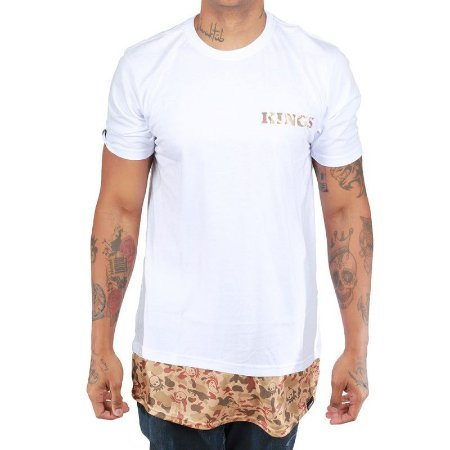 Camiseta Kings Oversized Zípper Camuflada Branca