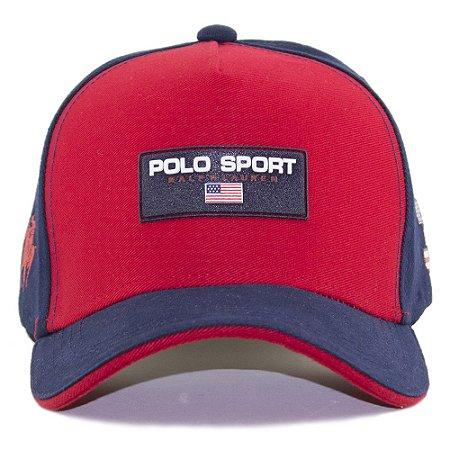 Boné Polo Ralph Lauren Sport Vermelho e Azul