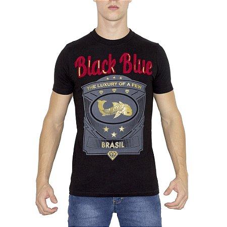 Camiseta Black Blue Brasão Preta