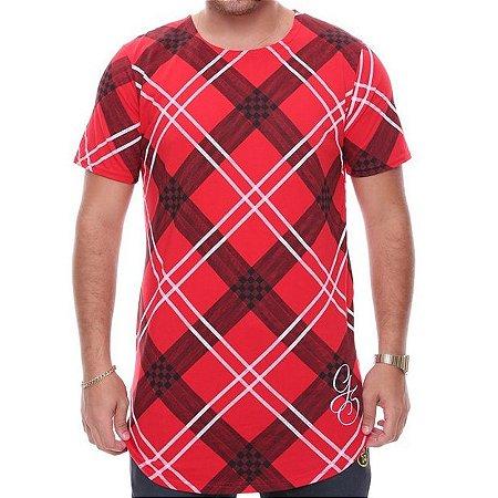 Camiseta G-Style Long Xadrez Vermelha