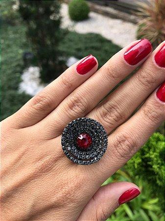 Anel Espiral Pedra Vermellha