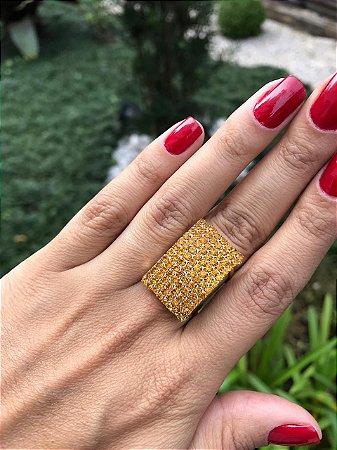 Anel Dourado Retangular Strass Dourado