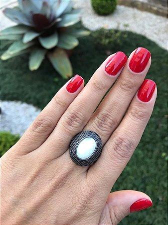 Anel Ródio Negro Pedra Gelo (Tam. M)