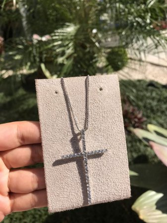Colar Ródio Branco Crucifixo