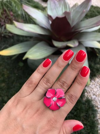 Anel Em Ródio Negro Esmaltado Flor Rosa