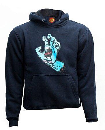 Moletom Santa Cruz Skate Canguru Fechado Juvenil Screaming Hand Azul Marinho