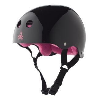 Capacete Triple Eight Brainsaver Sweatsaver Black Glossy Pink