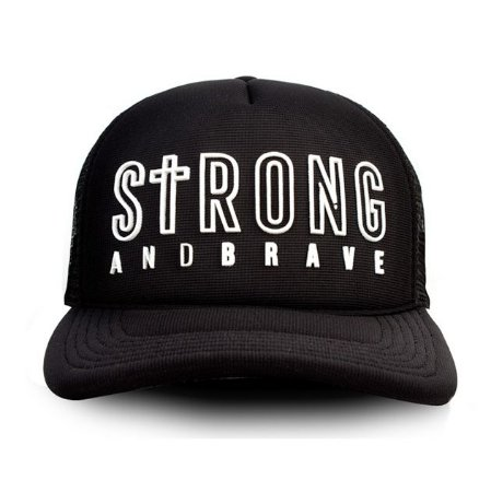 Boné Trucker (telinha) Strong and Brave - Camisetas Cristãs fe96617f2ce