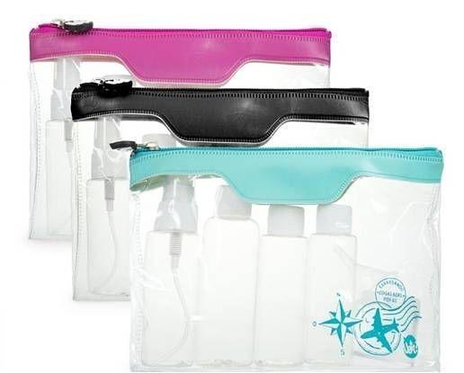 Kit viagem para produtos de higiene pessoal com 5 potes