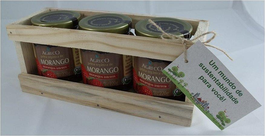 Kit presente orgânico. 03 geleias orgânicas e caixa de madeira