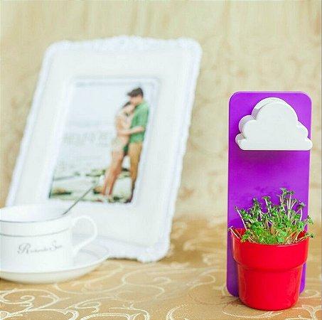Vasinho de plantas de parede com regador em formato de nuvem
