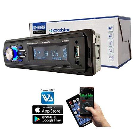 Rádio MP3 Player Roadstar RS2603-BR  FM / Bluetooth com Controle (Entrada Usb/Cartão)