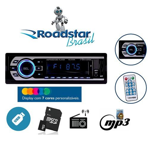 Auto Radio Roadstar USB/SD/AUX/FM/AM RS-2707BR Preto